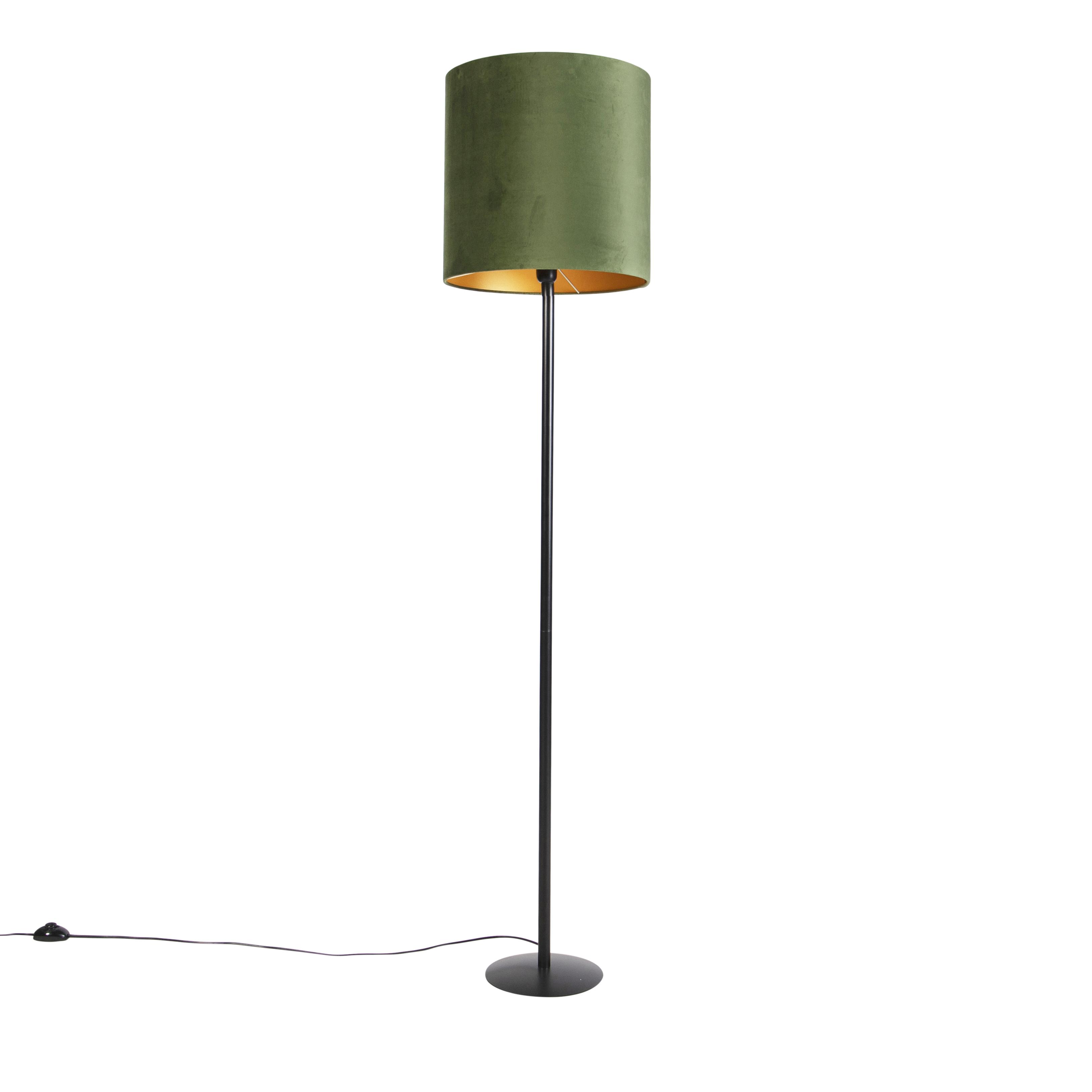 Zwarte vloerlamp met velours kap groen met goud 40 cm - Simplo