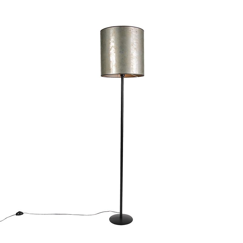 Vintage vloerlamp zwart met taupe kap 40cm - Simplo