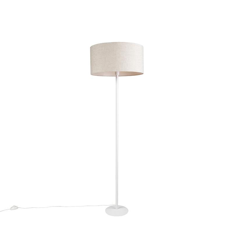 Moderne vloerlamp wit met peperkleurige kap 50 cm - Simplo