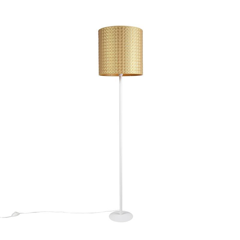 Vintage vloerlamp wit met goud triangle kap 40cm - Simplo