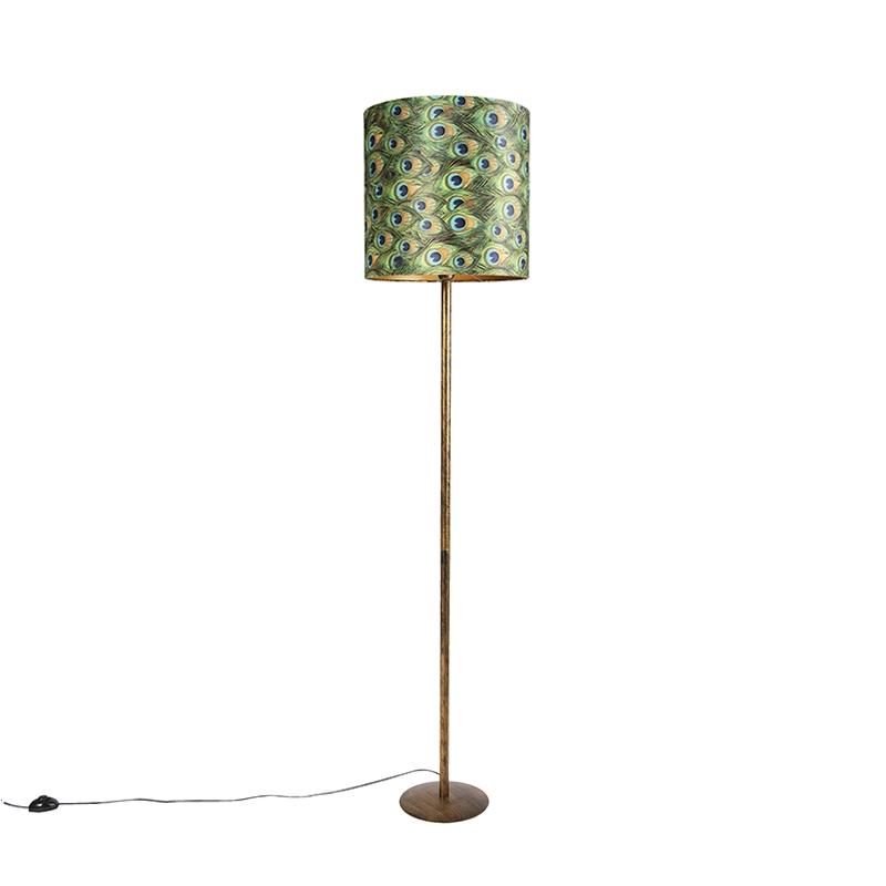 Lampa podłogowa złota klosz welurowy pawie oczka 40cm - Simplo