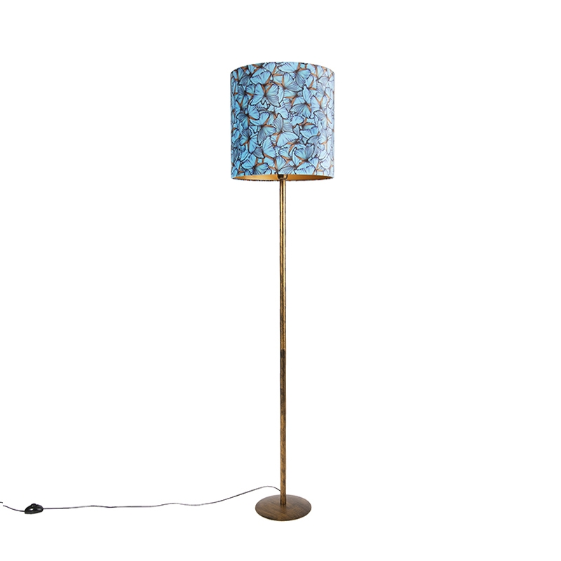 Lampa podłogowa złota klosz welurowy motyle 40cm - Simplo