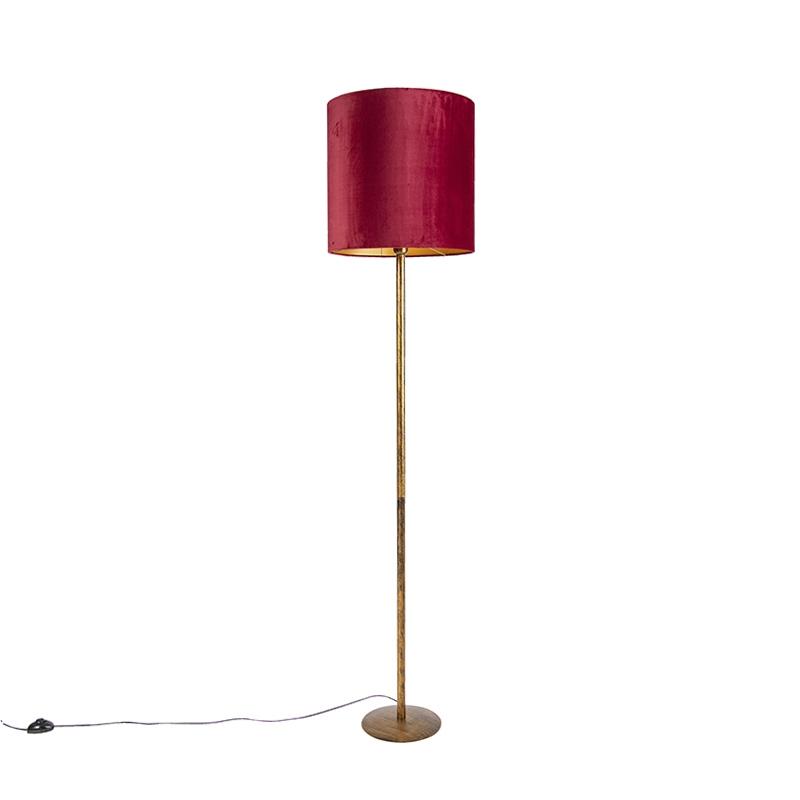 Lampa podłogowa złota klosz welurowy czerwono-złoty 40cm - Simplo