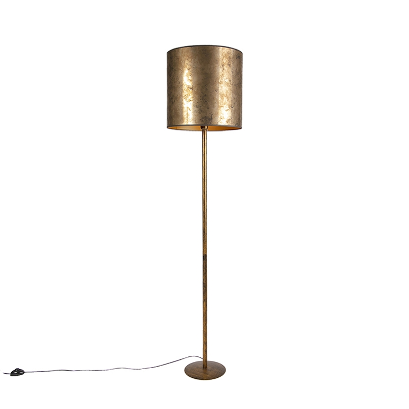 Vintage Vloerlamp Goud Met Oud Brons - Gouden Kap 40cm - Simplo