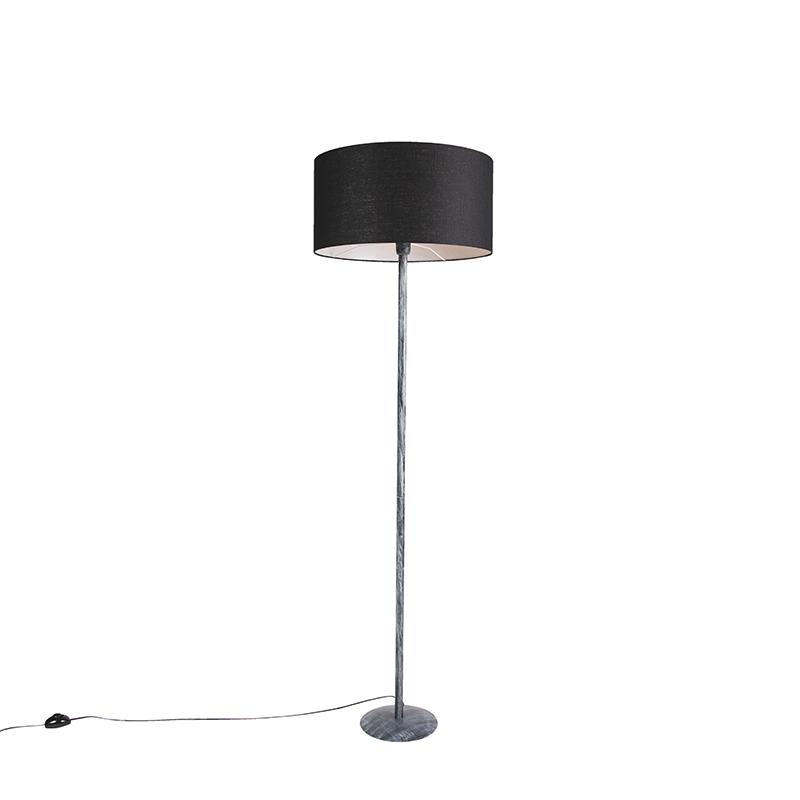 Moderne vloerlamp antiek grijs met zwarte kap 50cm - Simplo