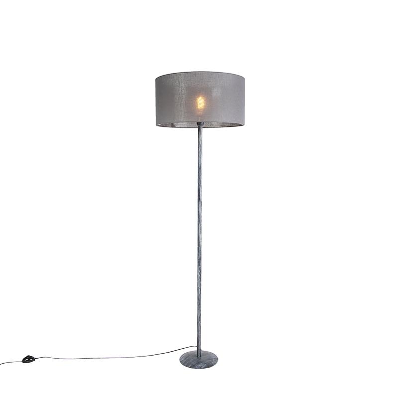 Vloerlamp grijs met grijze kap 50 cm - Simplo