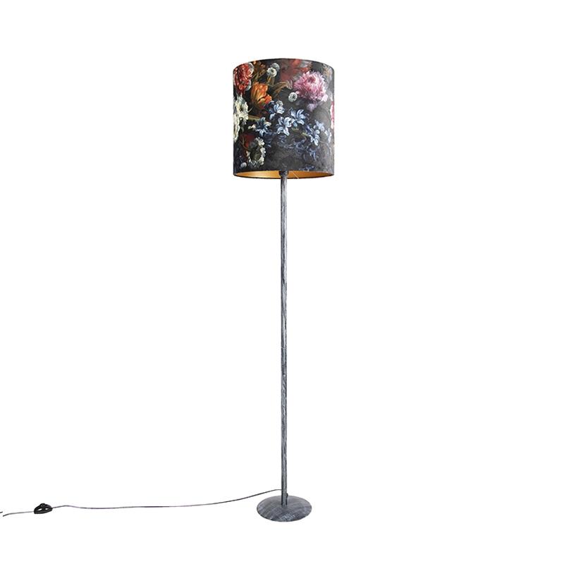 Vintage vloerlamp antiek grijs kap bloemen dessin 40 cm - Simplo