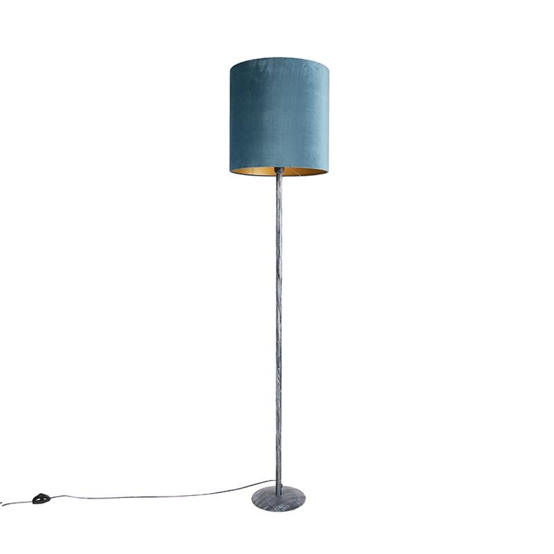 Vintage vloerlamp antiek grijs met blauw - gouden kap 40cm - Simplo