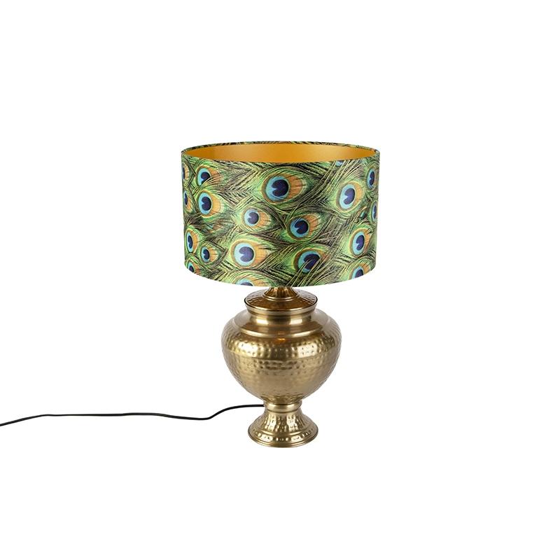 Vintage lampa stołowa mosiężna z kloszem pawia - Hazard A.