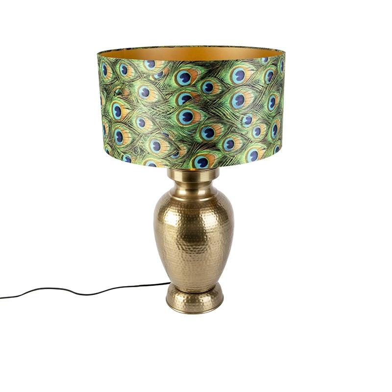 Vintage lampa stołowa mosiężna z kloszem pawia - Hazard B.