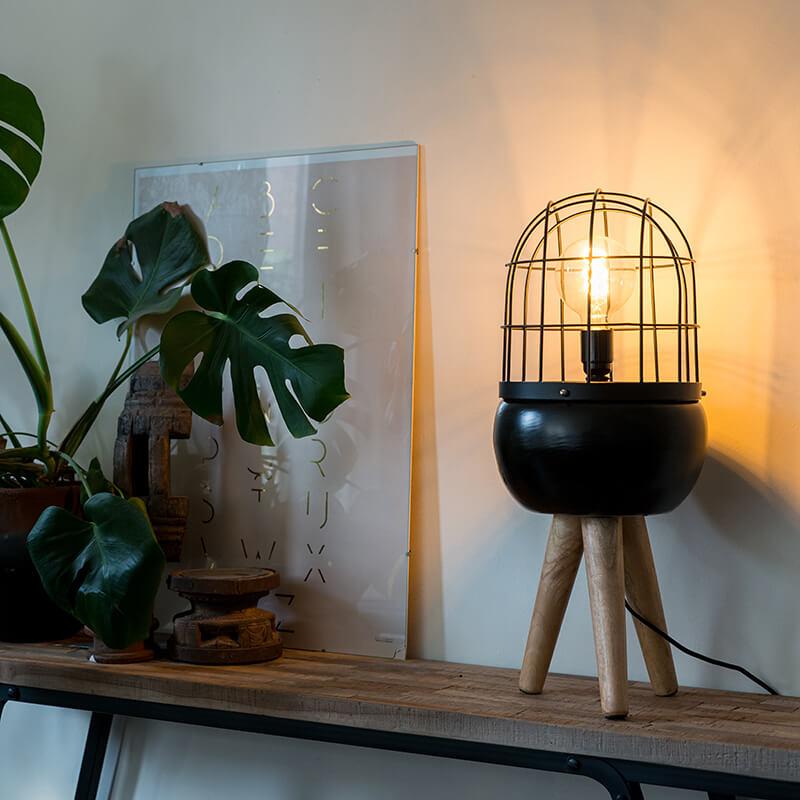 Moderne tafellamp zwart op houten driepoot - Birds
