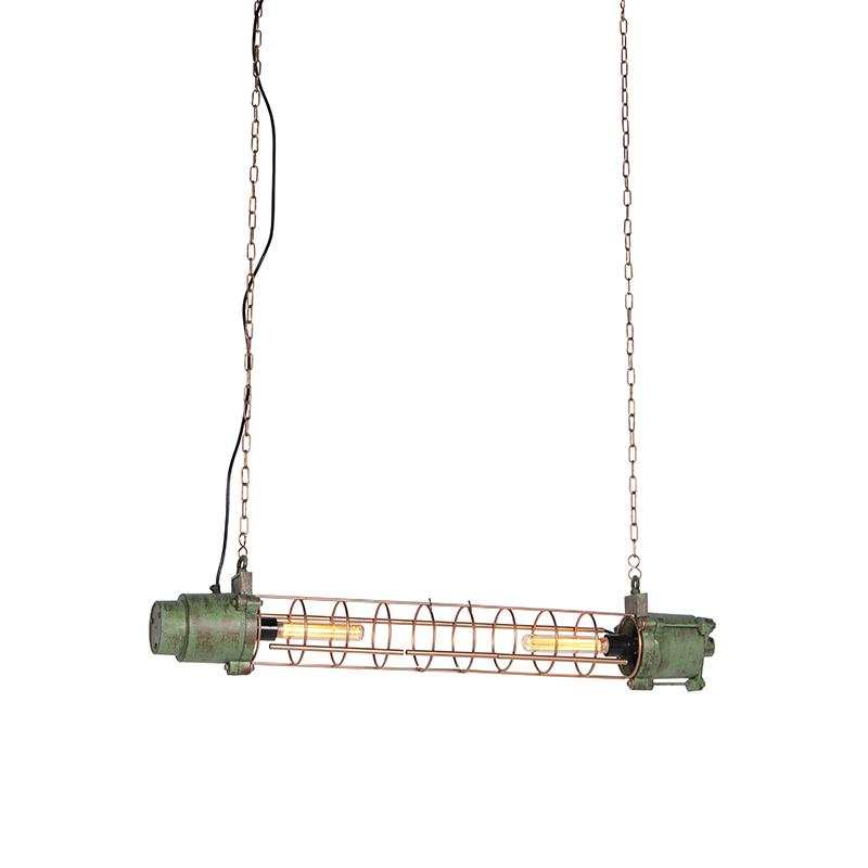 Industriele hanglamp antiek groen en koper - Fuze