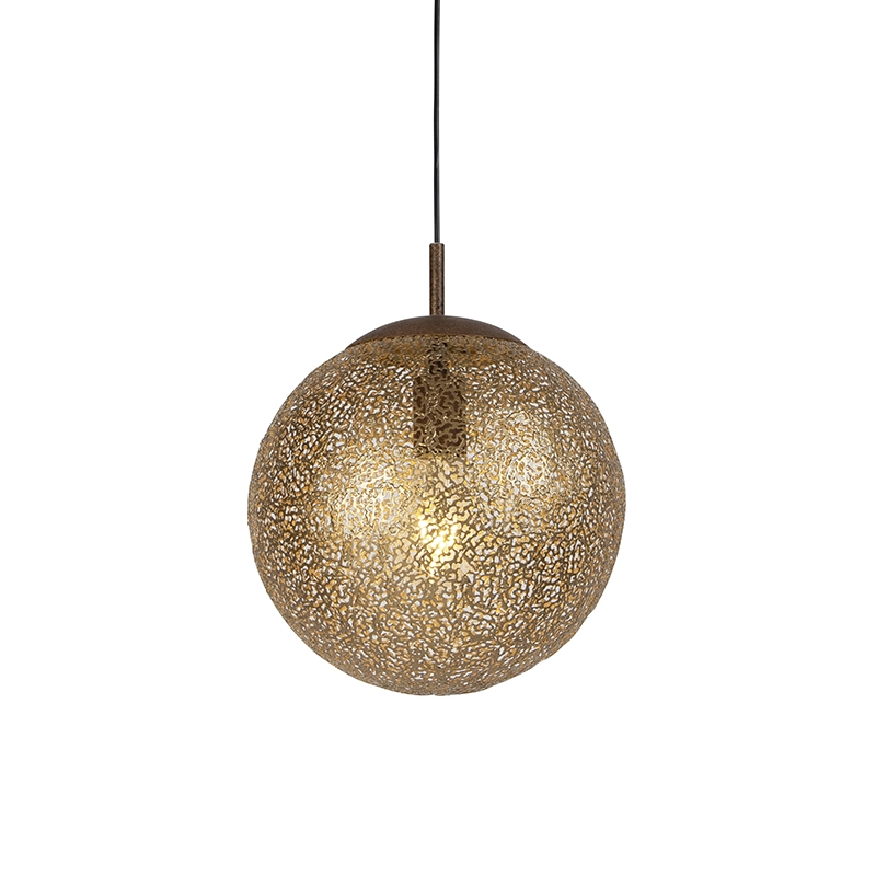 Landelijke hanglamp roestbruin 30cm - Kreta