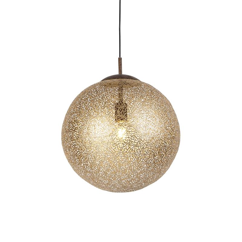 Landelijke ronde hanglamp 40cm in roest bruin - Kreta
