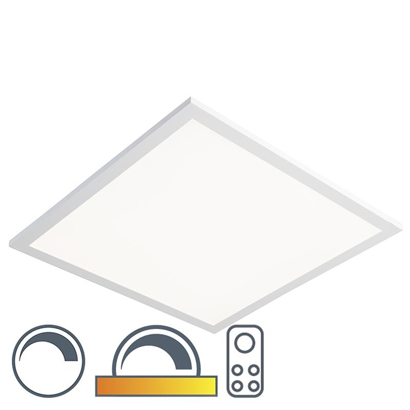 Vierkante plafondlamp wit 45cm LED met afstandsbediening - Orch