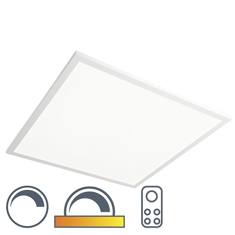 Vierkante plafondlamp wit 62cm LED met afstandsbediening - Orch