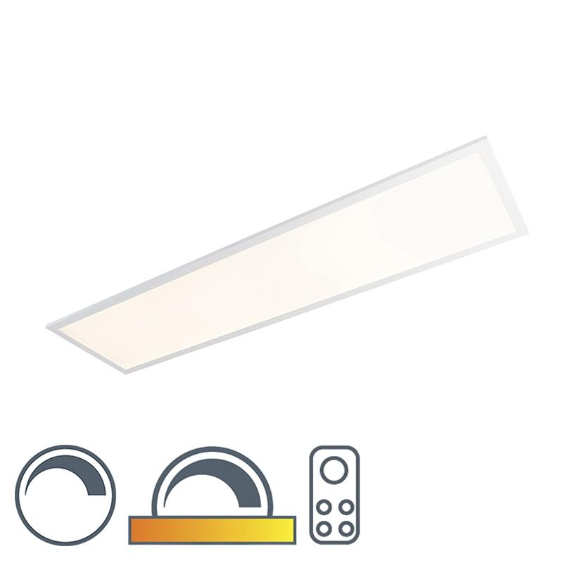 Langwerpige plafondlamp wit 120x30cm LED met afstandsbediening - Orch