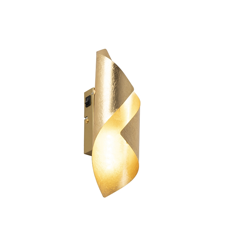 Retro Wandlamp Bladgoud Incl. Schakelaar - Belle