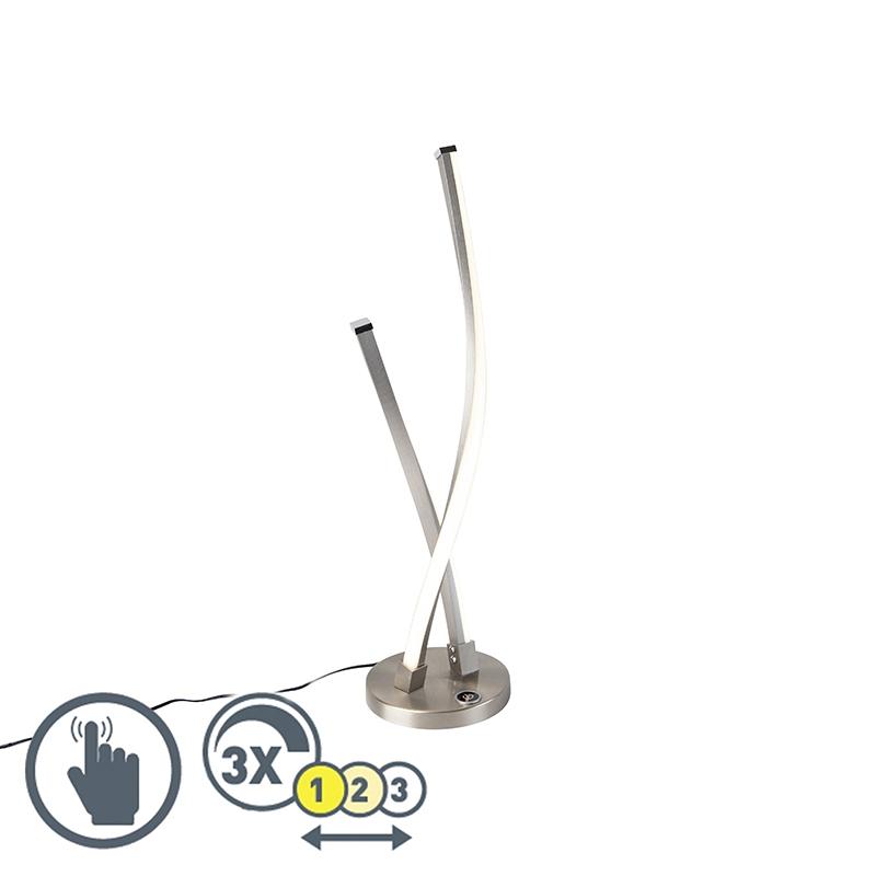 Designerska lampa stołowa stal LED dotykowa ściemnialna - Paulina