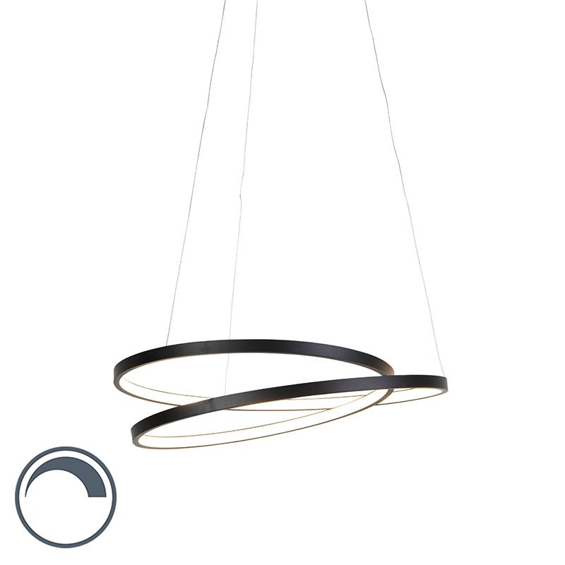 Designerska lampa wisząca czarna ściemnialna LED 56cm - Rowan