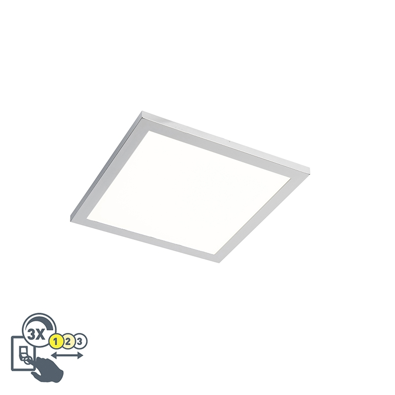 Strakke vierkante plafondlamp chroom incl. LED IP44 - Flat