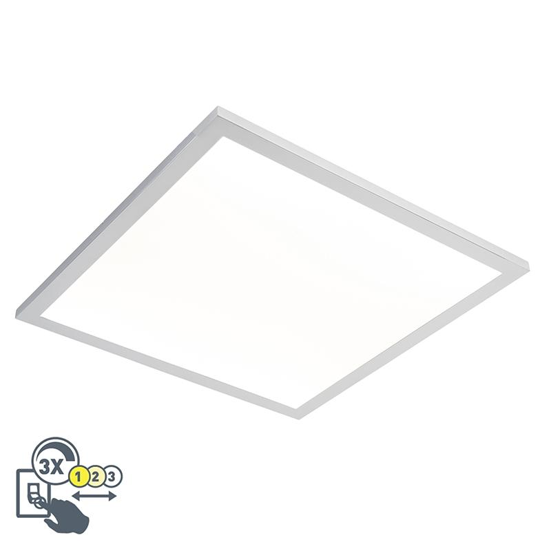 Vierkante plafondlamp chroom 45 cm incl. LED IP44 - Flat