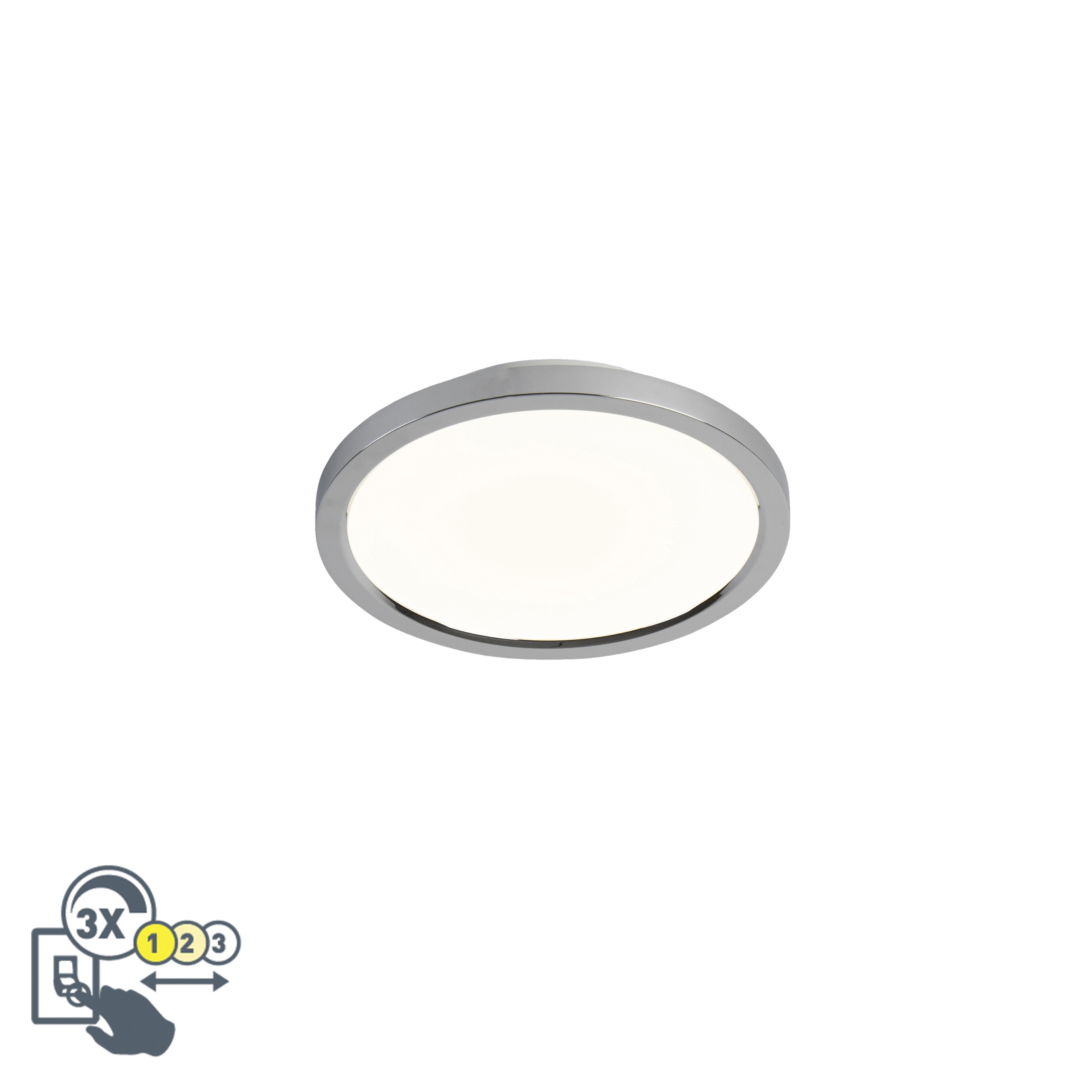 Moderne plafondlamp rond chroom 30cm incl. LED IP44 - Flat
