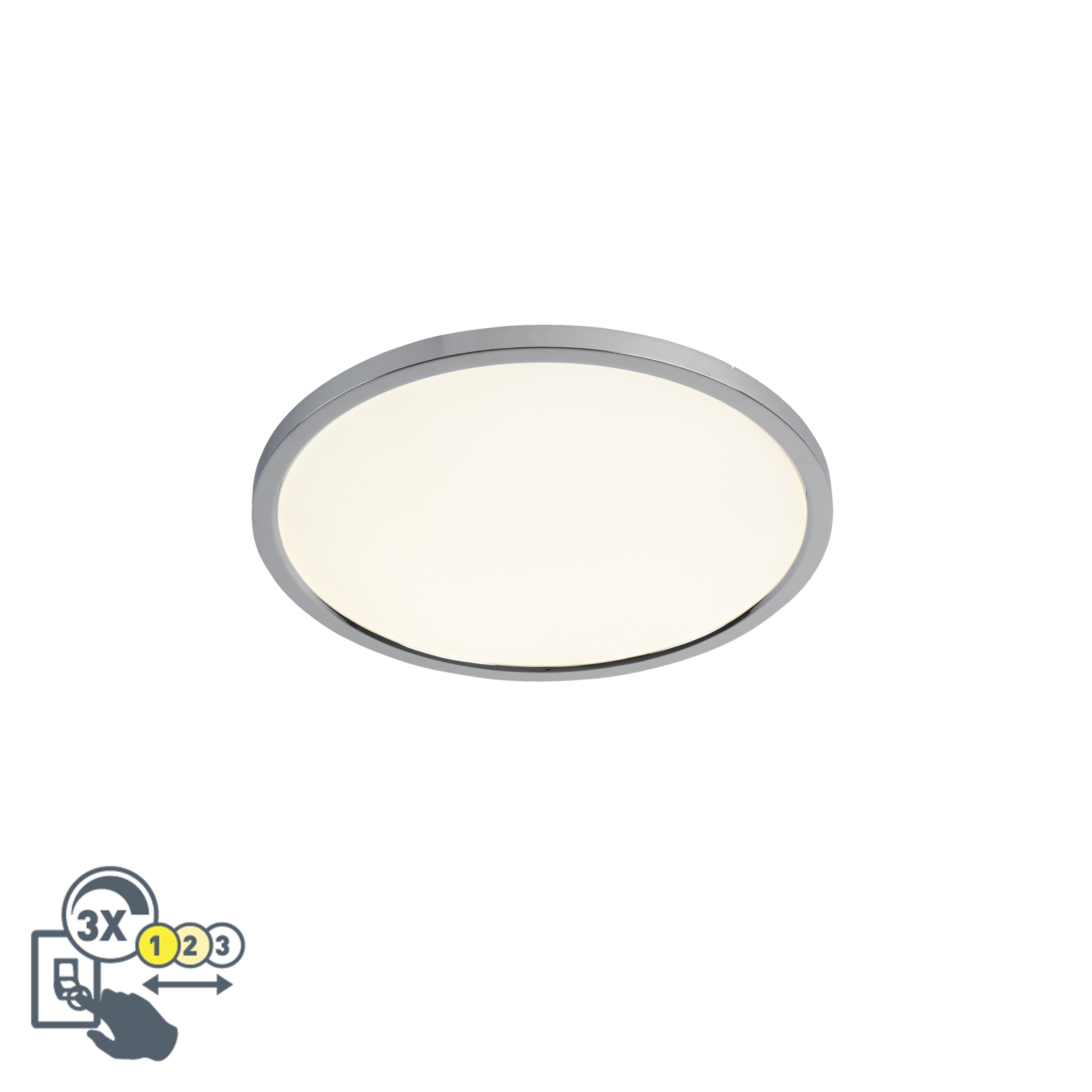 Moderne ronde plafondlamp chroom 45cm incl. LED IP44 - Flat