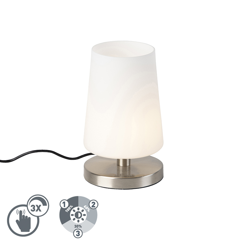 Moderne tafellamp staal met touchdimmer incl. LED - Magma