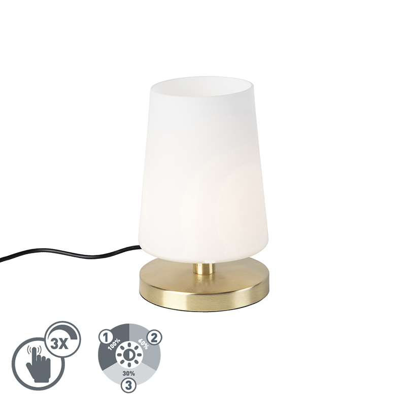 Moderne tafellamp messing met touchdimmer incl. LED - Magma