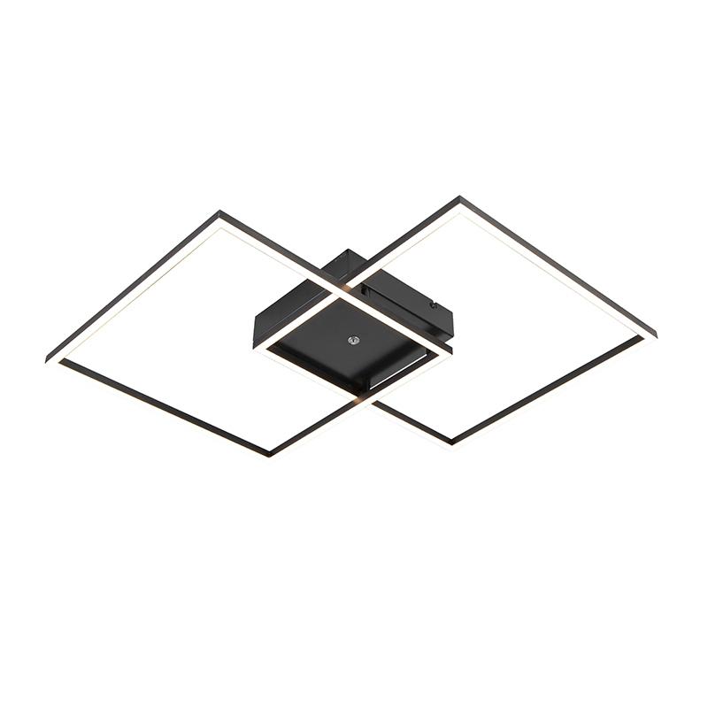 Plafondlamp zwart incl. LED en afstandsbediening - Plazas 2