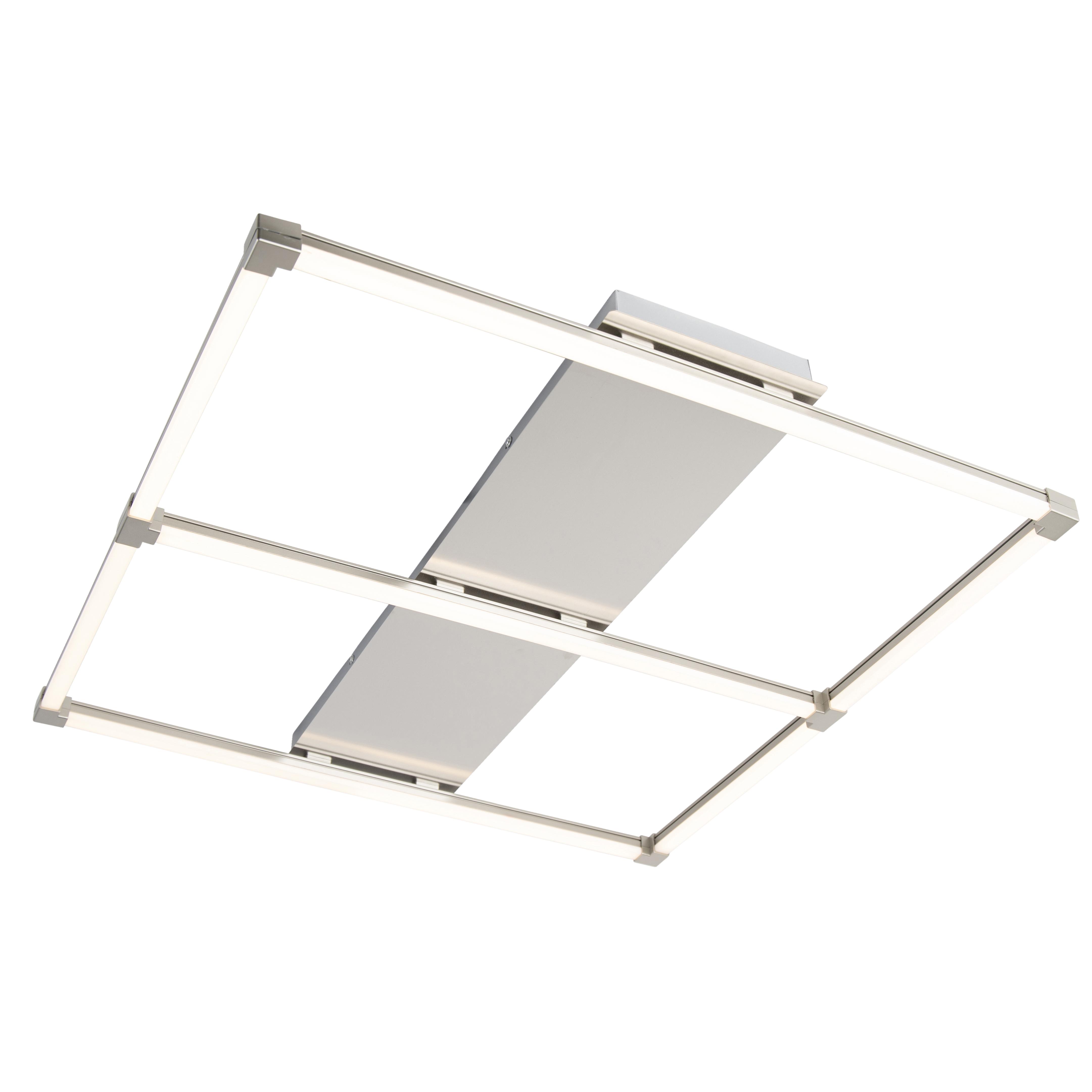 Design vierkante plafondlamp staal incl. LED - Plazas basic