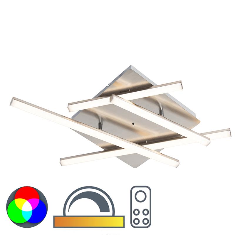 Design plafondlamp staal incl. LED - Simona Square
