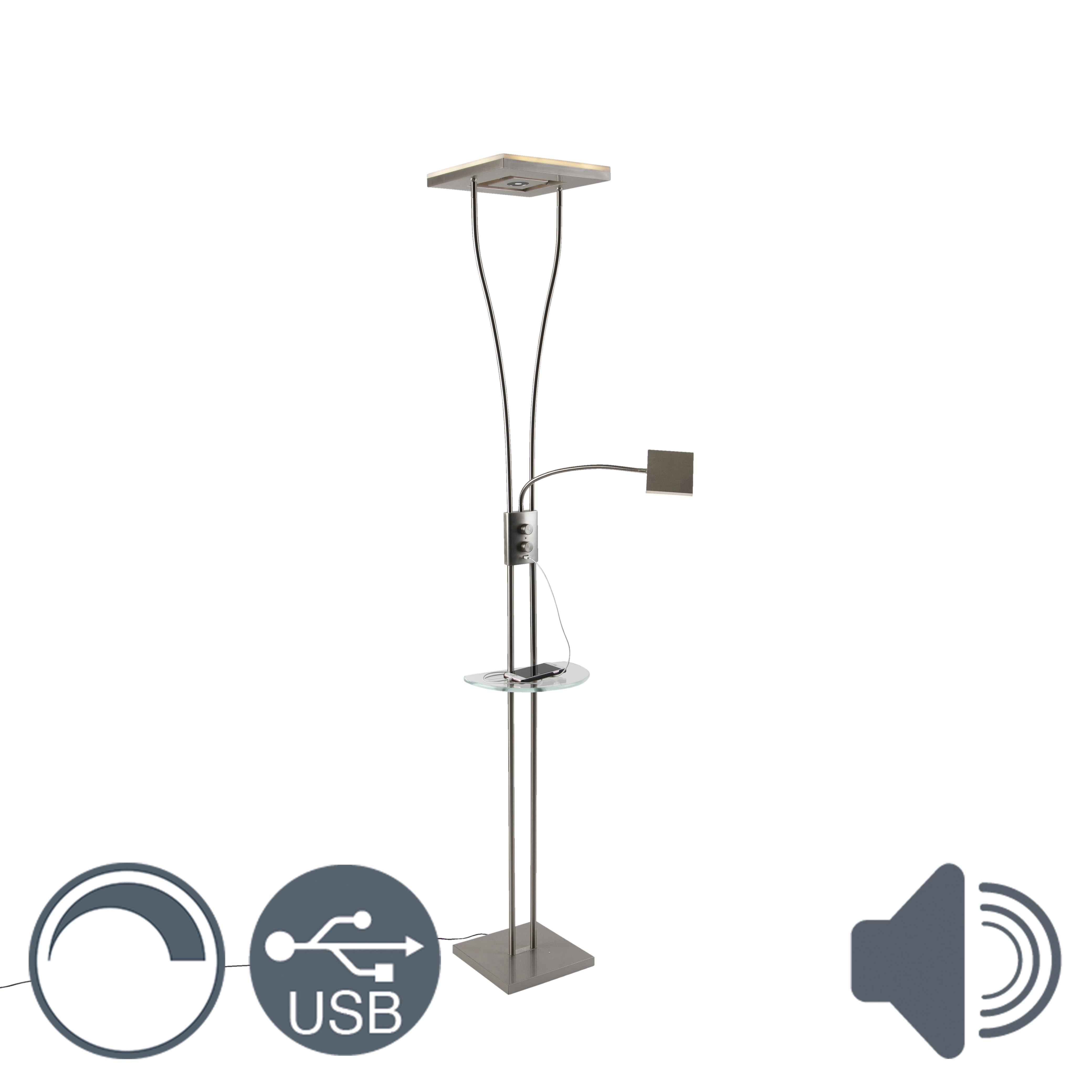 Moderne vloerlamp staal met leeslamp USB poort incl. LED - Hella