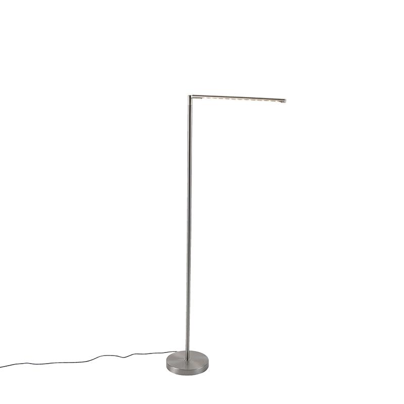 Nowoczesna lampa podłogowa stal dotykowa ściemnialna zawiera LED - Douwe