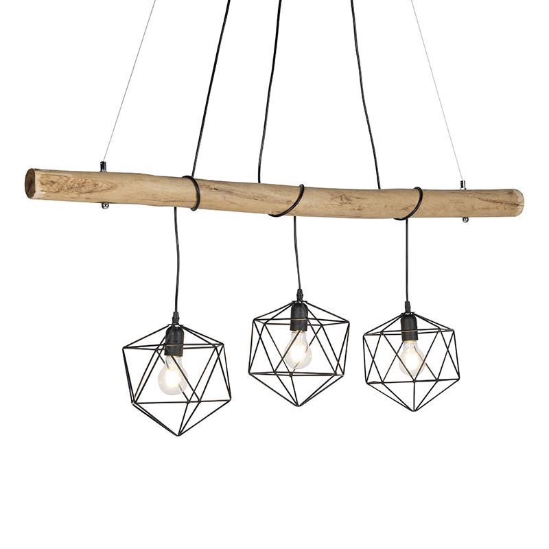 Landelijke hanglamp zwart - Gerda
