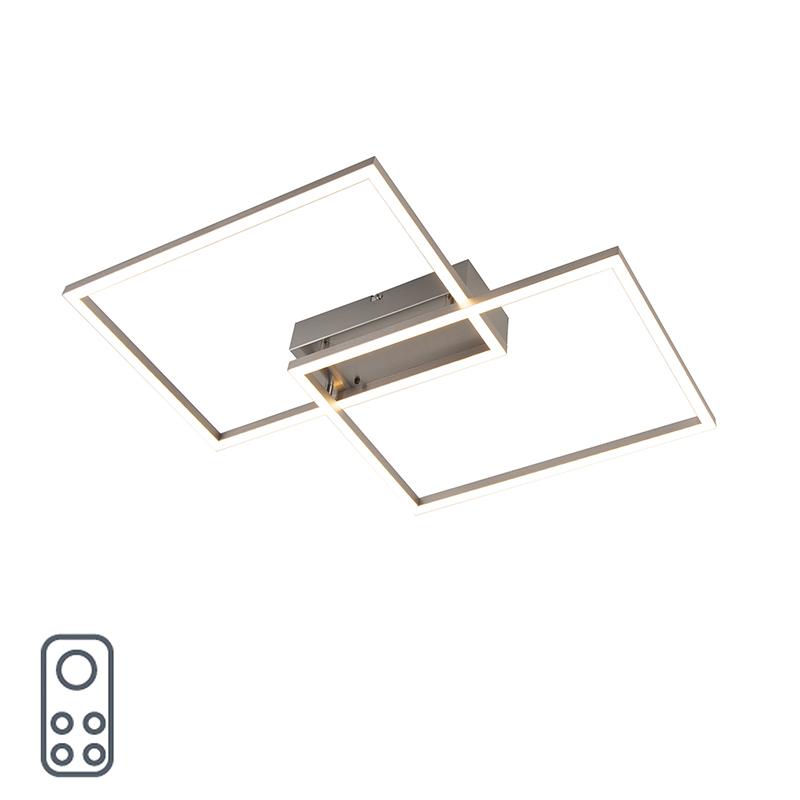 Design plafondlamp staal incl. LED met afstandsbediening - Plazas 2