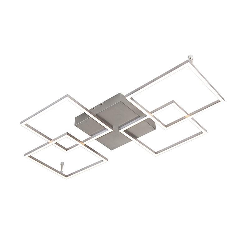 Design plafondlamp staal incl. LED en dimmer - Plazas Mondrian