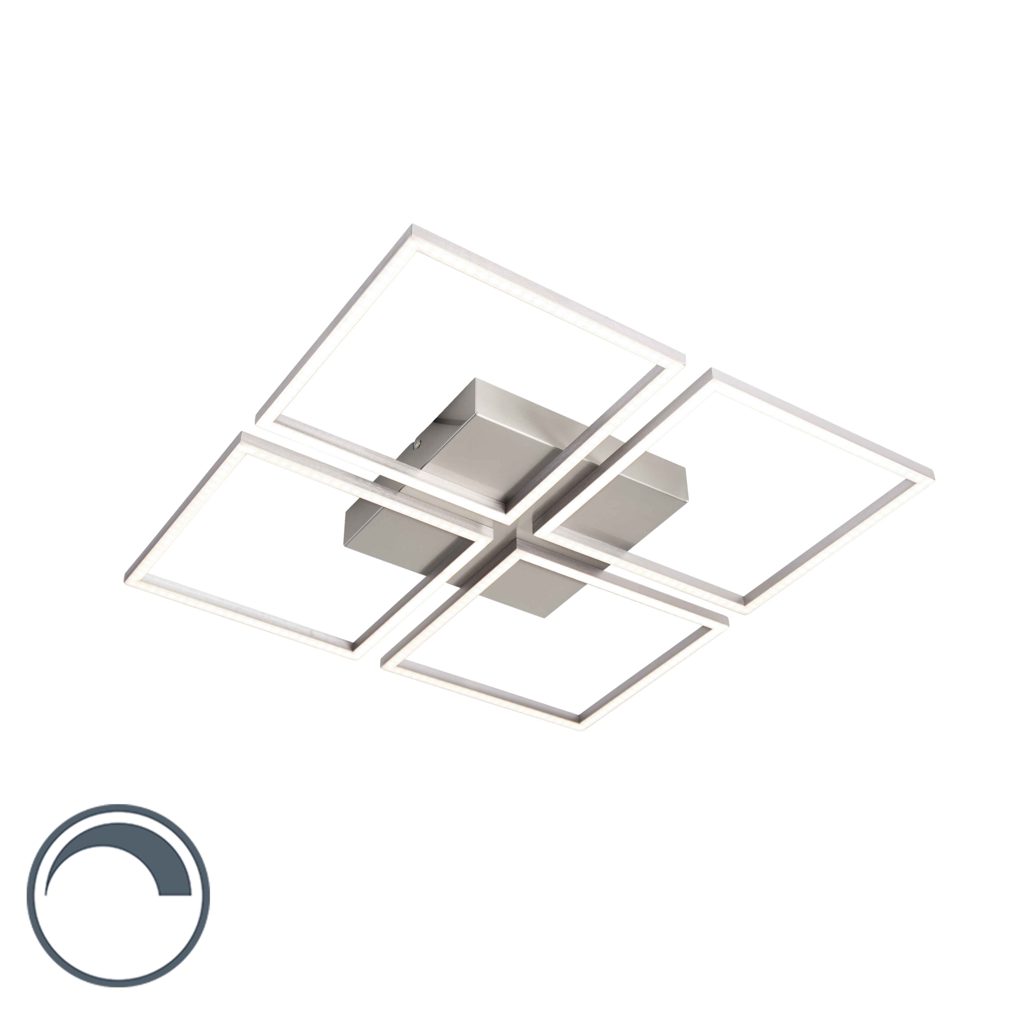 Design plafondlamp staal incl. LED en dimmer - Plazas 4