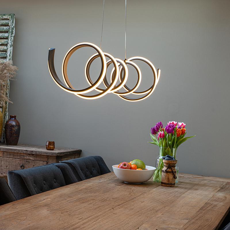Design hanglamp zwart dimbaar incl. LED groot - Twisted