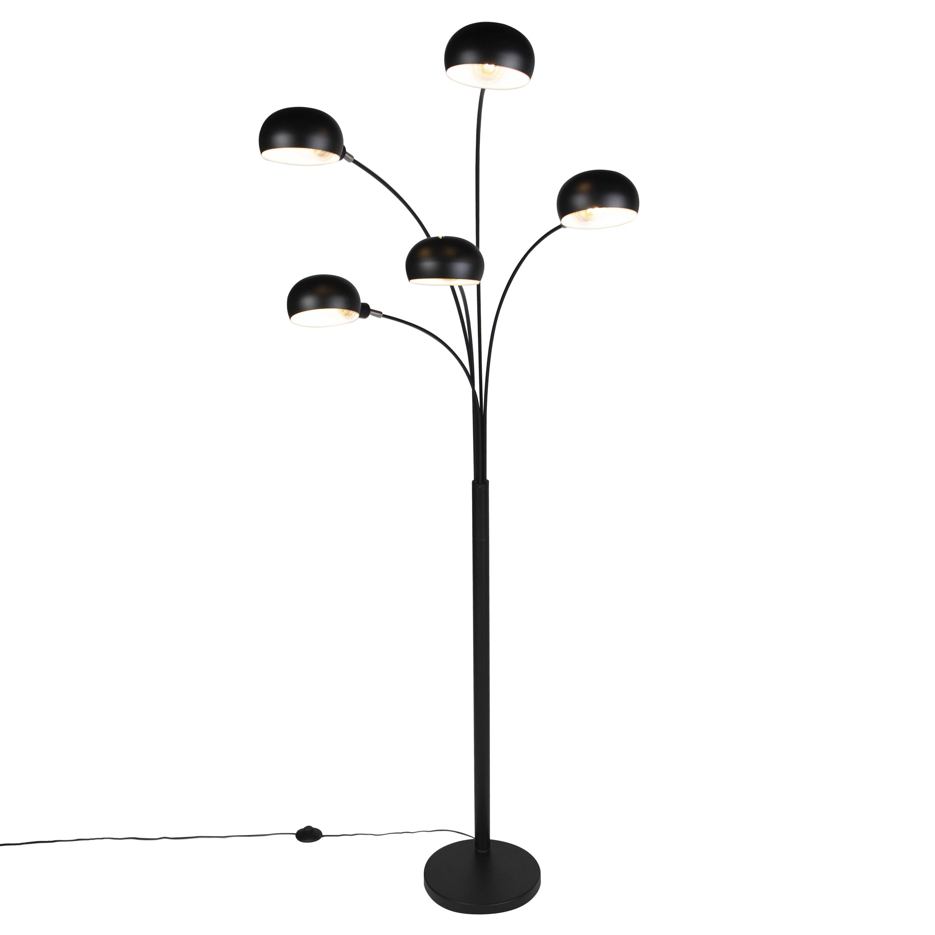 Design vloerlamp zwart 5-lichts - Sixties