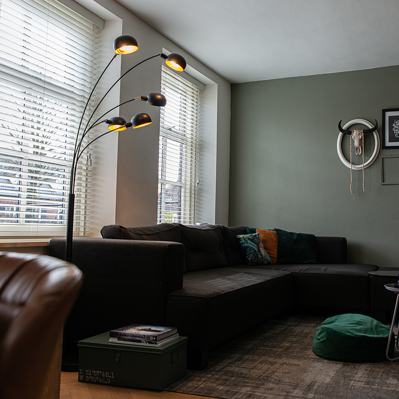 Design vloerlamp zwart 5-lichts - Sixties Marmo