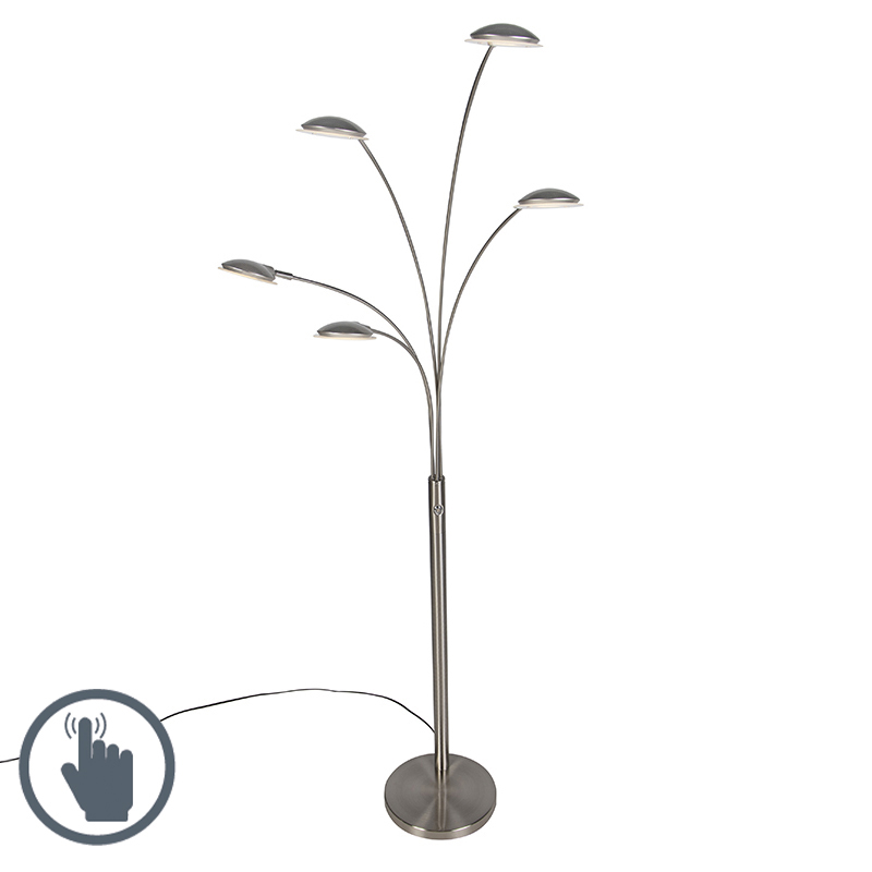 Design vloerlamp staal 5-lichts incl. LED - Sixties Trento