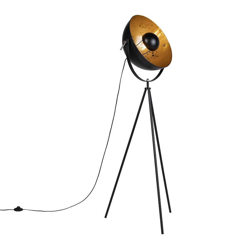 Stoere driepoots vloerlamp zwart - Magna
