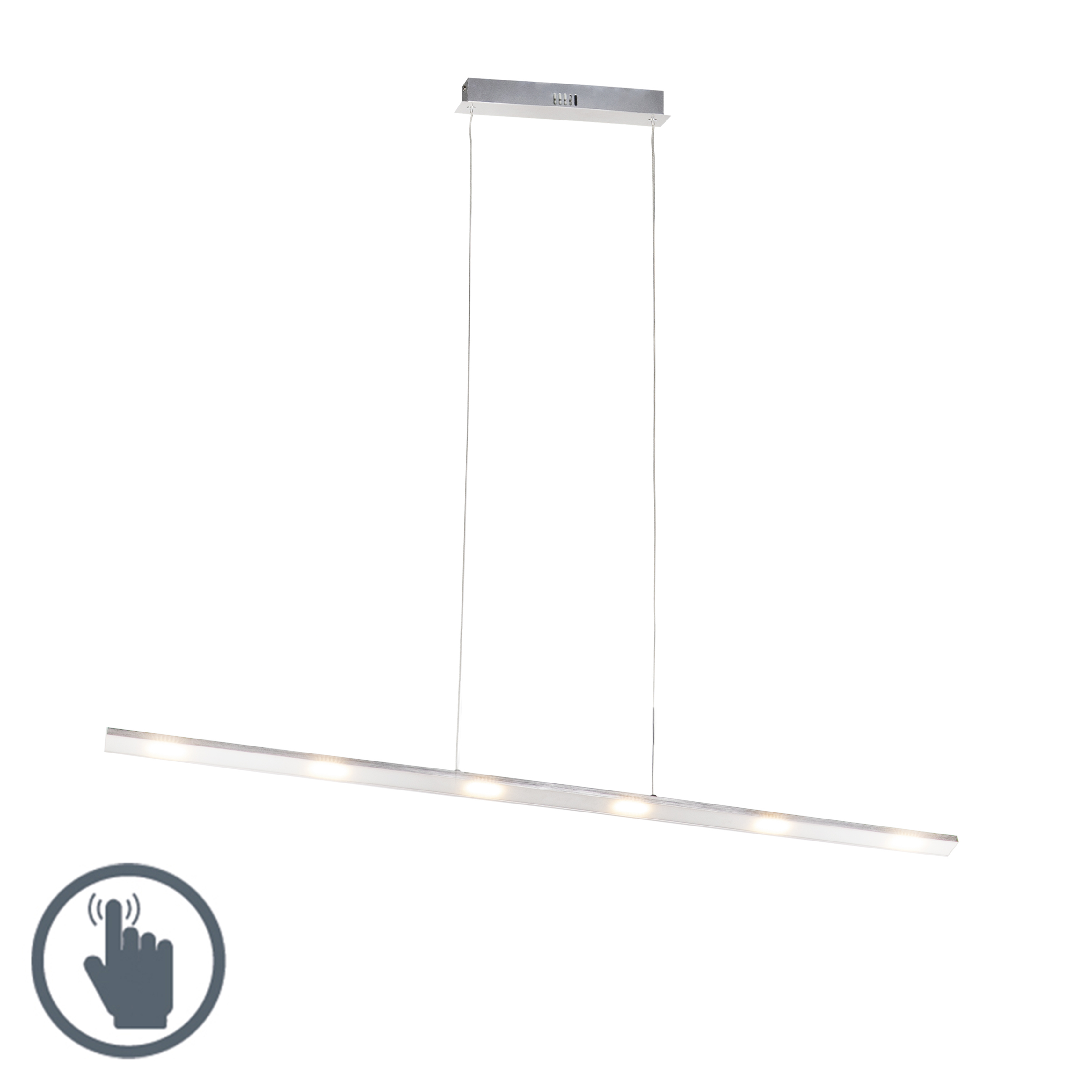 Design Hanglamp Staal Touch-dimmer 120cm Incl. Led - Platina