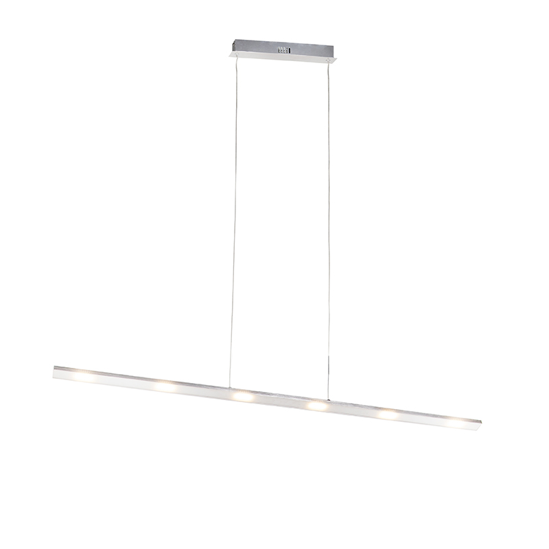 Design hanglamp staal incl. LED met touch dimmer - Platina
