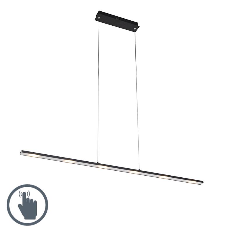 Design hanglamp zwart touch-dimmer 120cm incl. LED - Platina