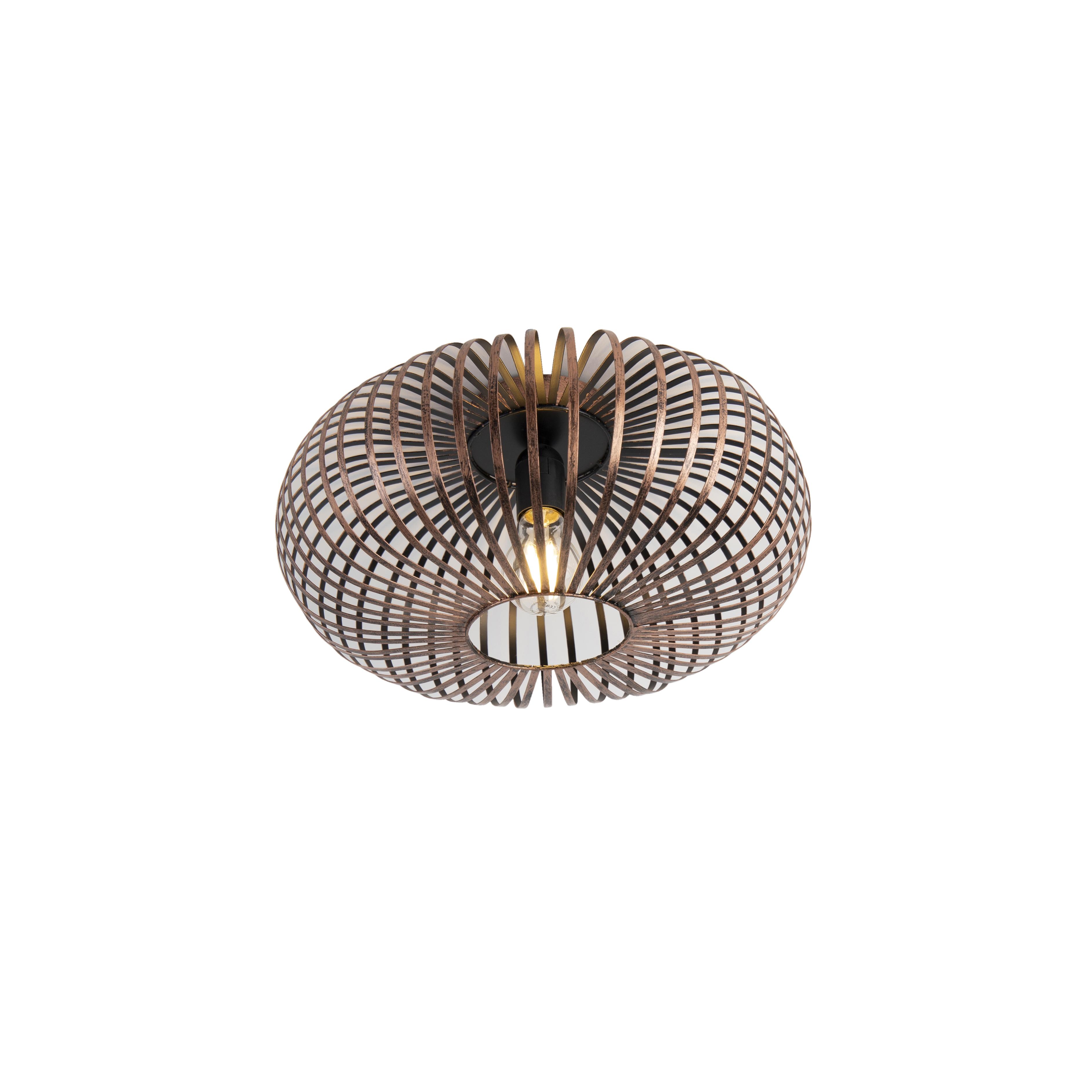 Industriele ronde plafondlamp roestbruin - Johanna
