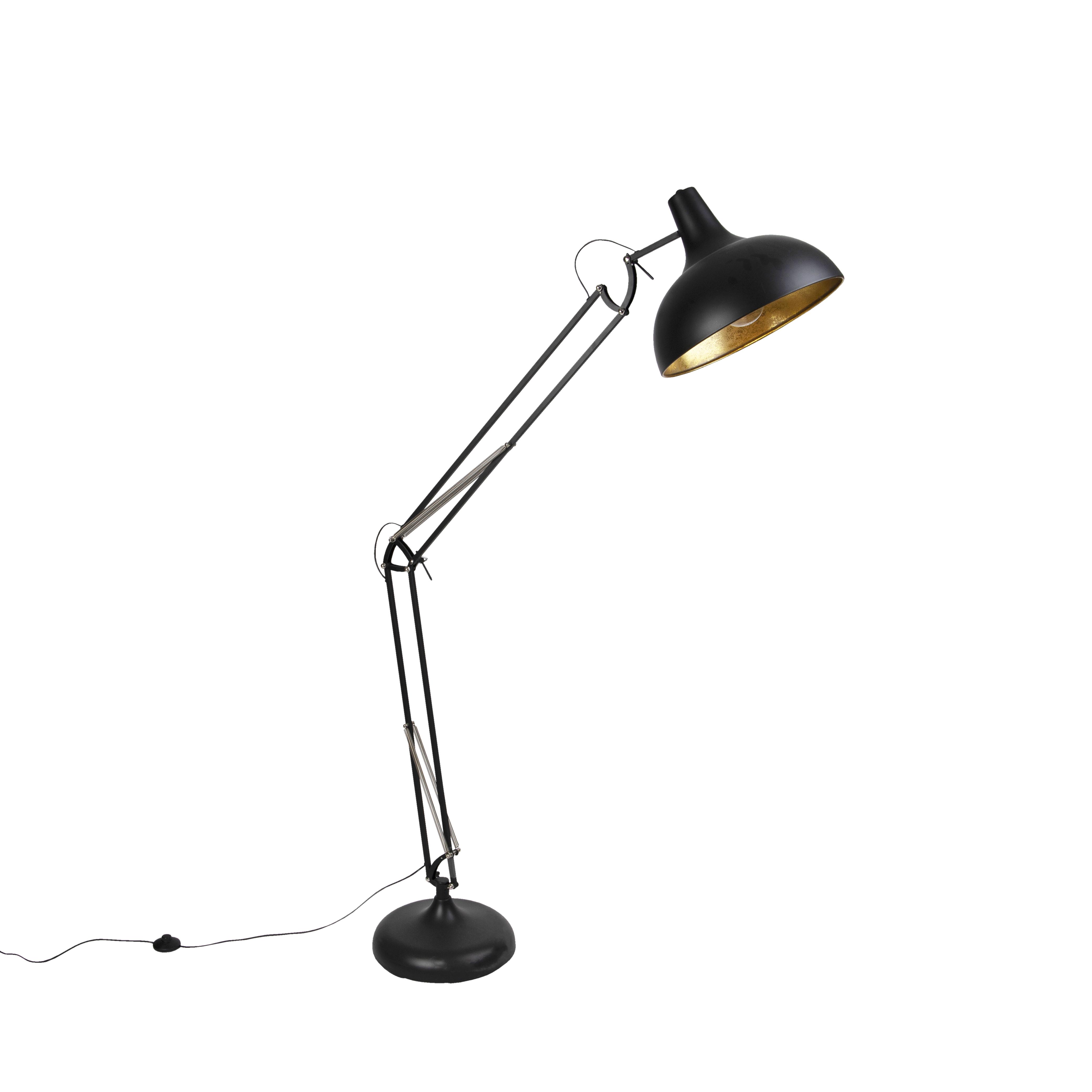 Industri�le vloerlamp zwart met goud verstelbaar - Hobby