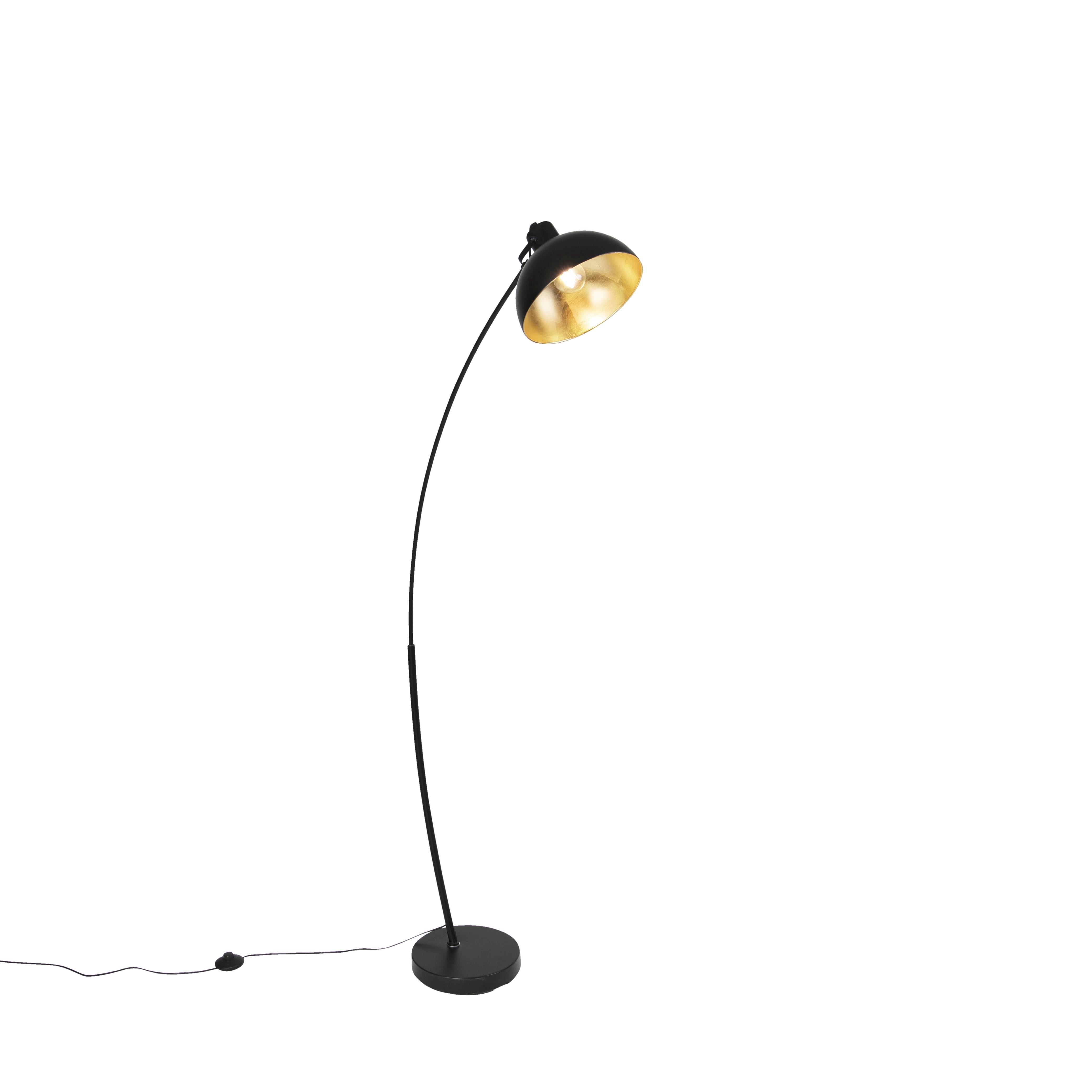 Moderne gebogen vloerlamp zwart - Recife